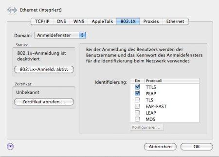 802.1x in Mac OS X Leopard