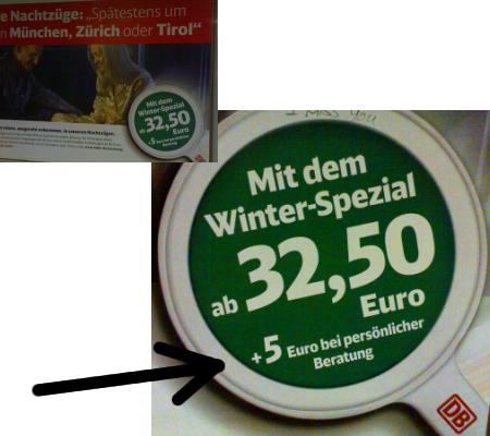 Winter-Spezial der Bahn Plakat