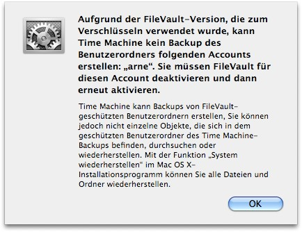 Time Machine File Vault Warnung