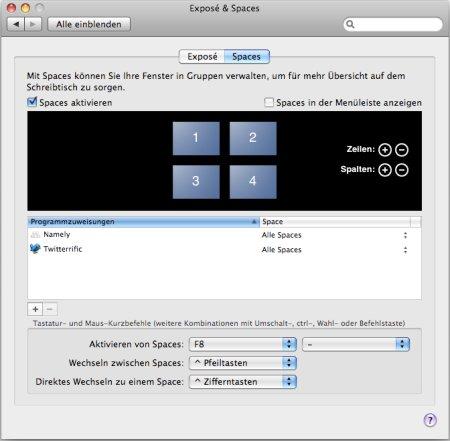 Spaces Einstellungen unter Mac OS X Leopard